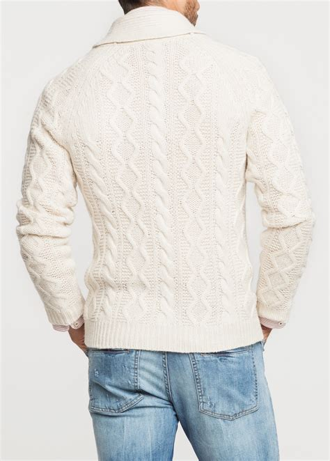 mens white cable knit sweater lyst mango shawl collar cableknit cardigan in white for