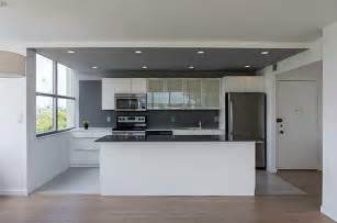 Slate Backsplash Kitchen Modern Kitchen With One Wall Amp High Ceiling In Miami Fl