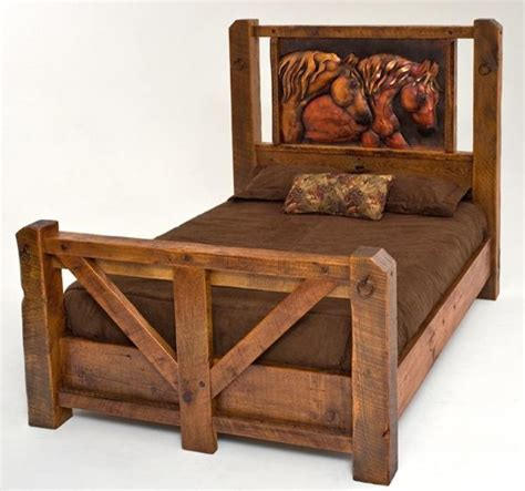 Western Style Bed Frames Barnwood Bed With Copper Horses Traditional Beds Grand Rapids By Woodland Creek Furniture