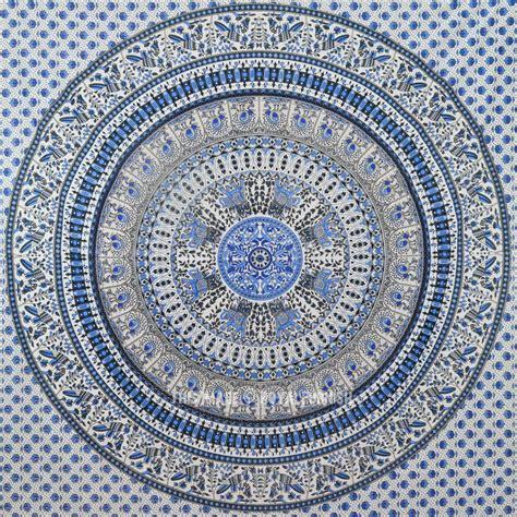 Light Blue Tapestry white light blue bohemian birds mandala tapestry wall