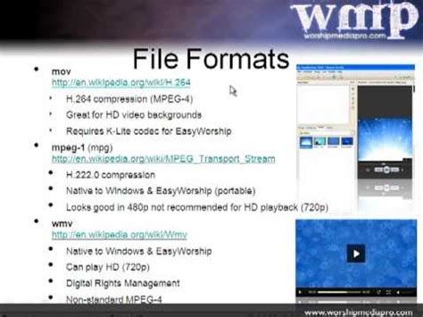 Format Video Easyworship 2009 | easyworship 2009 training lesson 5 video codecs and file