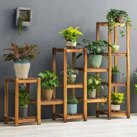 flower rack plant stand multi wood shelves display shelf
