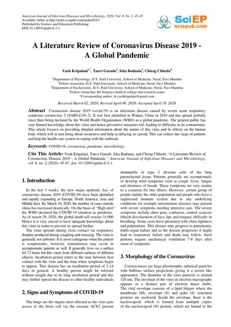(PDF) A Literature Review of Coronavirus Disease 2019 - A