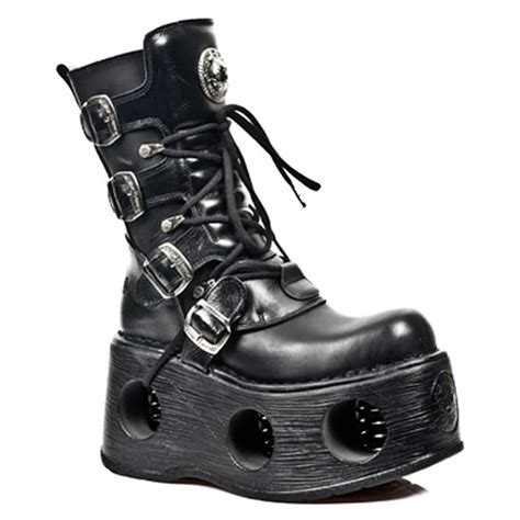 rock boots for new rock unisex m 373 s2 black leather metallic neptuno