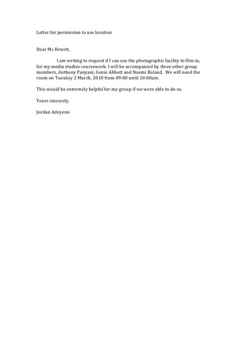 Endorsement Letter To Use Facilities letter for permission to use location