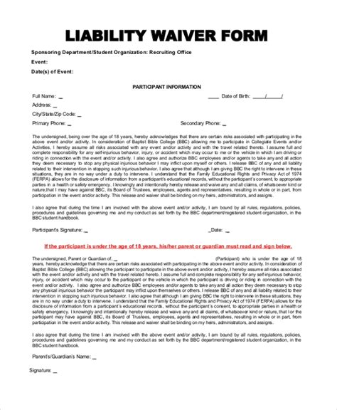 Liability Insurance Liability Insurance Waiver Insurance Waiver Template