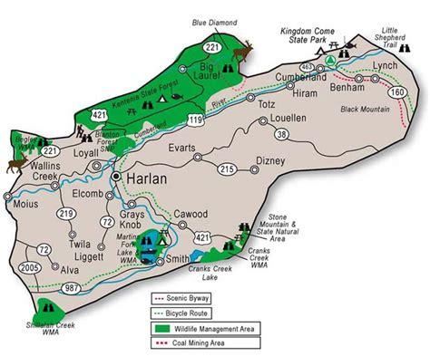kentucky map harlan county adventure tourism in harlan county