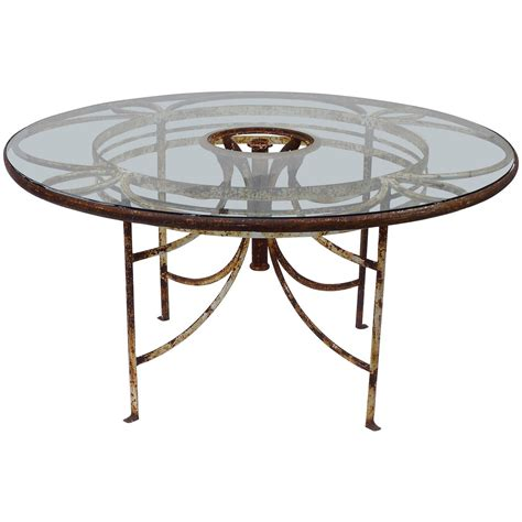 Glass Patio Table 1930s Iron And Glass Outdoor Garden Dining Table 57 Quot For Sale At 1stdibs