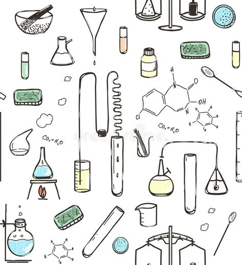 pattern lab less chemical laboratory seamless pattern stock vector image