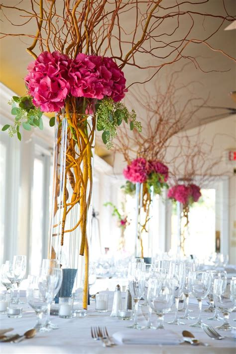 white branches for centerpieces hydrangeas and curly willow centerpieces branch wedding centerpieces wedding