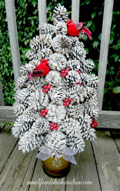 Hometalk   Winter Pine Cone Trees With Berries and Birds