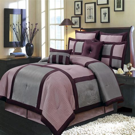 morgan purple and gray luxury 12 piece comforter set ebay