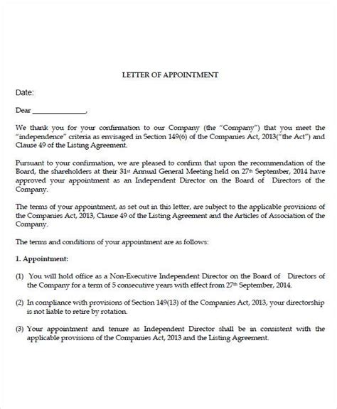 Appointment Letter As Director 51 sle appointment letters