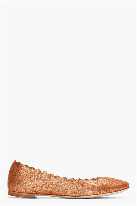 copper flats shoes chlo 233 copper sparkly suede scalloped flats in brown lyst
