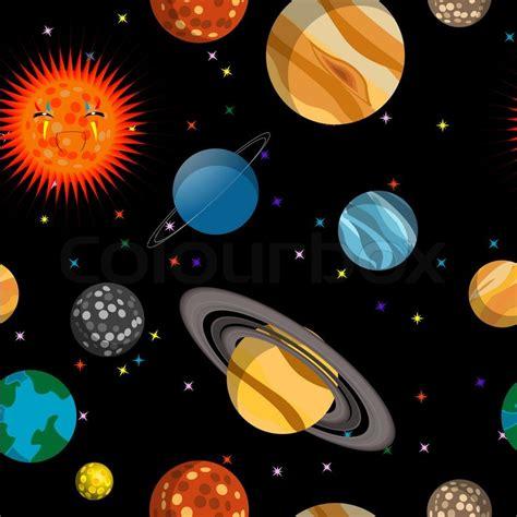 saturns pattern coloured vinyl box set seamless pattern with planets illustration stock photo