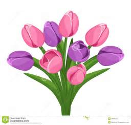 Ornate Vase Bouquet Of Pink And Purple Tulips Vector Royalty Free
