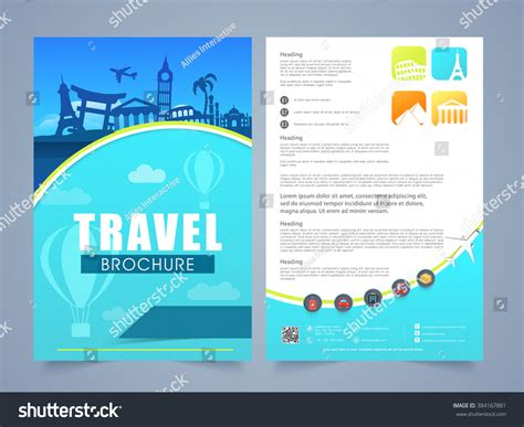 three page brochure template two page brochure template flyer design stock vector