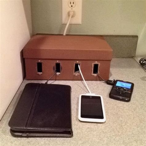 diy charging station ideas diy charging station made from a shoe box crafts