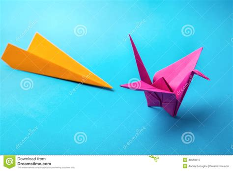 Origami Colored Paper - colored paper origami stock photo image 48618815
