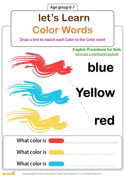 Colours Activity Learning Act Funlrn Col let s learn color words worksheets for mocomi