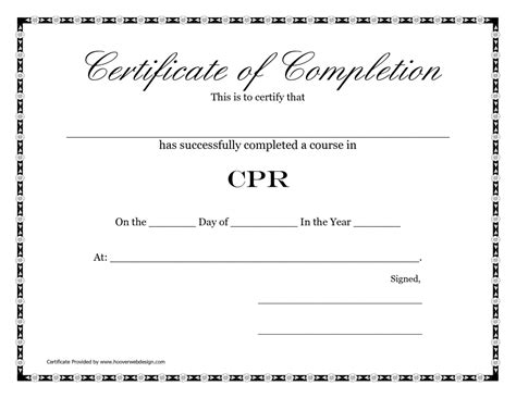 2016 Paper Cpr Card Template by Free Printable Blank Certificate Of Completion Cpr