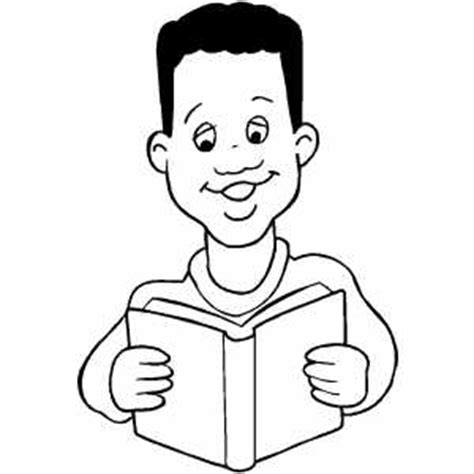 boy reading coloring page boy reading book coloring sheet