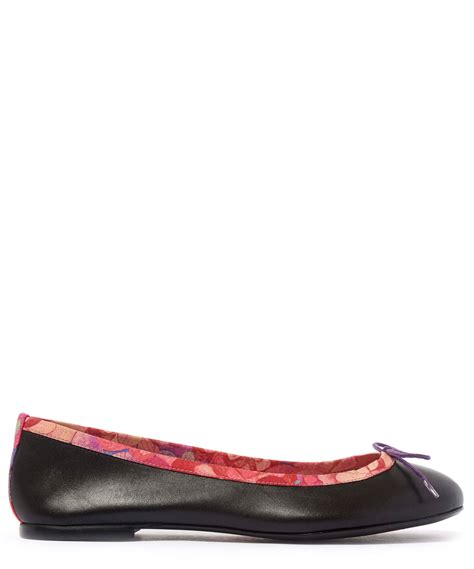 shoes flats lyst sole black leather classic ballet flats in black