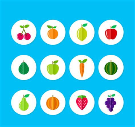 c fruit plano 12 flat fruits and vegetables icon vector design