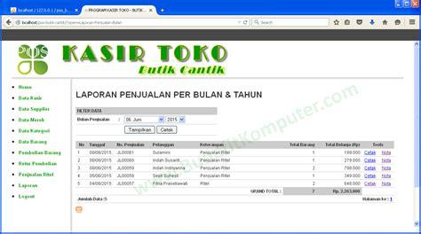 format laporan penjualan contoh aplikasi sistem informasi penjualan kasir di web