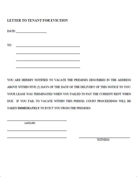 notice template eviction notice template real estate forms