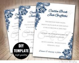 diy wedding invitations templates navy blue wedding invitation template diy instant
