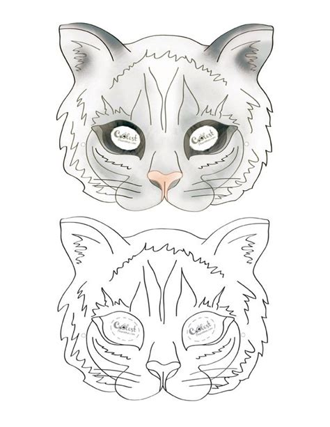 printable mask of cat we ve created a black and white cat mask and colored cat