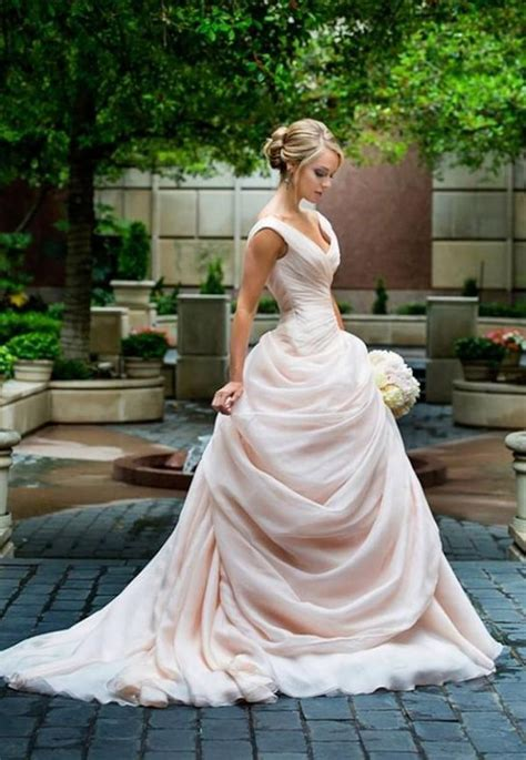 drop waist wedding dress blush ball gown 2017