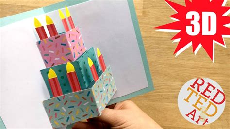 make a 3d card easy pop up birthday card diy ted s