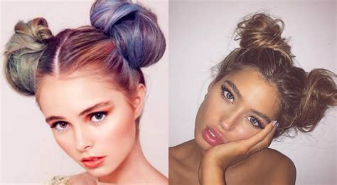 double bun hairstyles 2017 childish and flirty