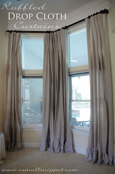 diy drop cloth curtains diy ruffled drop cloth curtains decorating ideas pinterest