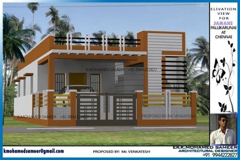 1200 Sq Ft Tamilnadu Style 2 Bedroom Home Elevation Design From Er K House Plan