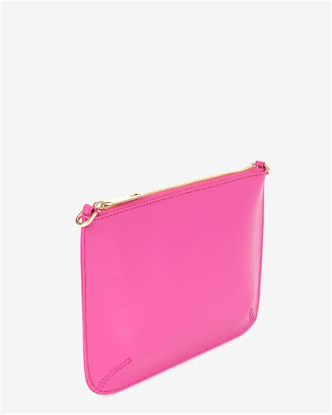 Pink Clutch ted baker crosshatch leather clutch bag in pink bright