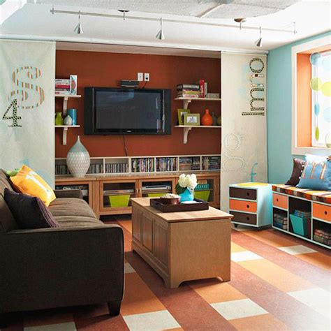 basement family room benches and storage basement