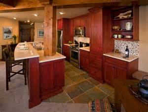 Barn Red Kitchen Cabinets Ski Condo Red Cabinets Rustic Kitchen Other Metro