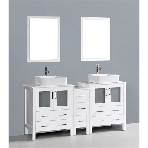 white bathroom vanity set contemporary 72 inch white double rectangular vessel sink bathroom vanity set with mirror
