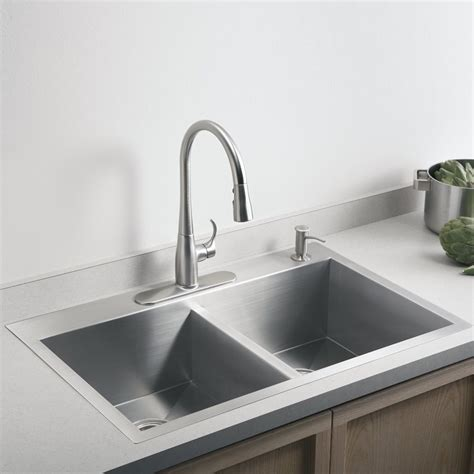 sinks for kitchen kohler vault 3820 1 na stainless steel double bowl kitchen
