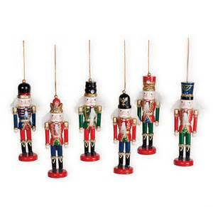 nutcracker wooden soldier ornaments 6 piece wooden soldier