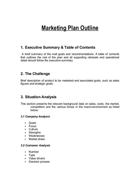 template for a marketing plan marketing plan outline