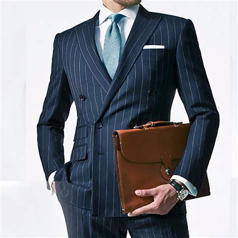 Handmade Mens Suits - aliexpress buy chalk stripe suit custom made