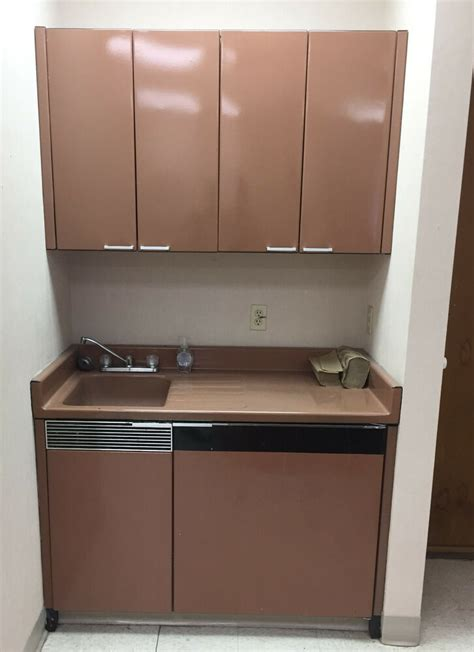 Metal Cabinets & Sink Base w/Rare Under Counter Fridge