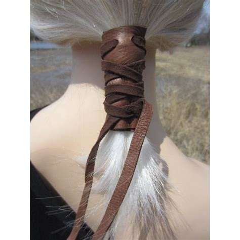 gray and black wrap hairstyles ponytail holder hair tie brown leather wrap pony tail cuff