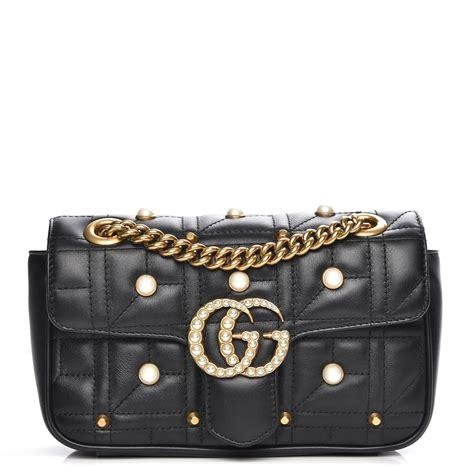 gucci calfskin matelasse pearl studded mini gg marmont shoulder bag black 214381