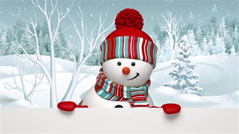 christmas snowman salutation animated greeting card  cartoon character stock footage video