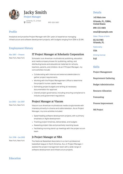 Project Manager Resume Templates by Resume Template Project Manager Resumeviking